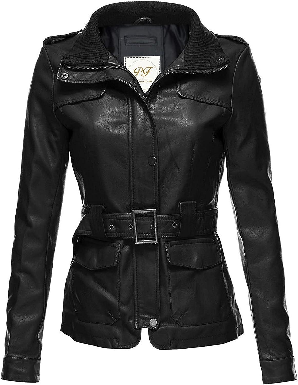 Pelletteria Factory Jazz Biker Motorcycle Classic Fancy Black Real Faux Leather Jacket for Women