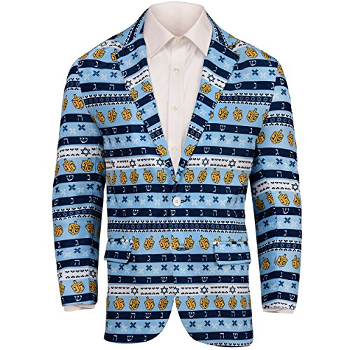 Forever Collectibles Hanukkah Repeat Ugly Business Sport Jacket-Medium(44) Light Blue