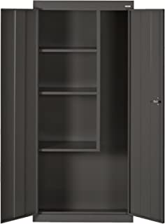 Sandusky Lee VFC1301566-09 Black Steel Janitorial/Supply Cabinet, 3 Fixed Side Shelves, 66