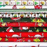 Larcenciel 10 Stück Weihnachtsbaumwollstoffbündel 20 x 20