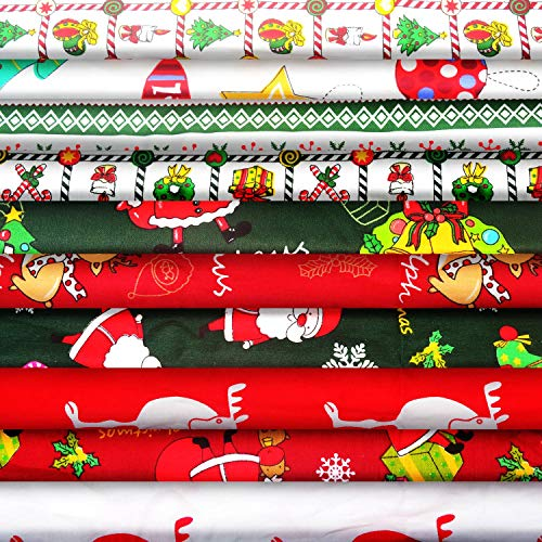 Larcenciel 10pcs Christmas Cotton Fabric Bundles 20 x 20 Inch Sewing Squares Bundle Multi-Color Fabric Patchwork Christmas Tree Fat Quarters Precut Santa Claus Fabric Scraps for Christmas DIY Quilting