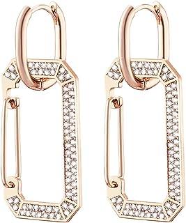 Orecchino a cerchio rettangolare Huggie da donna, orecchini pendenti ipoallergenici placcati in oro rosa e argento con cri...