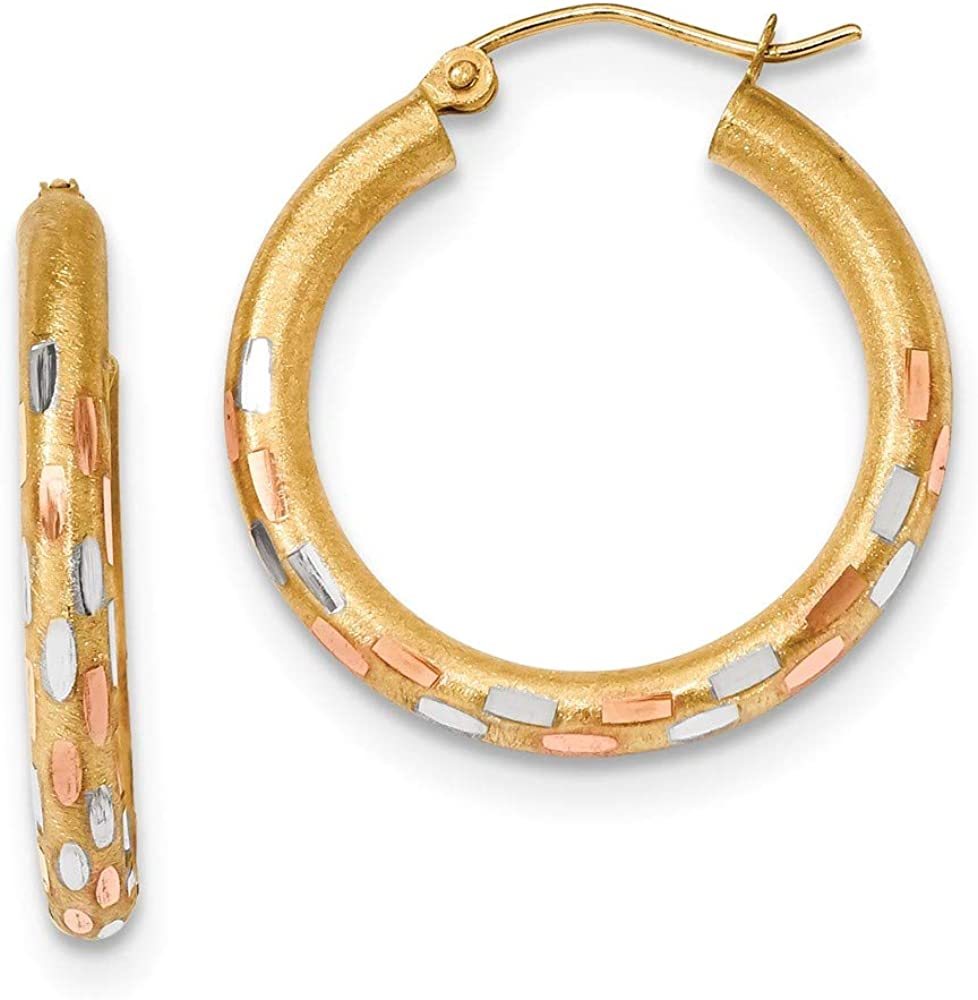 14k Yellow Gold Rose White Hoop Earrings Ear Hoops Set Round Fine Jewelry For Women Gifts For Her