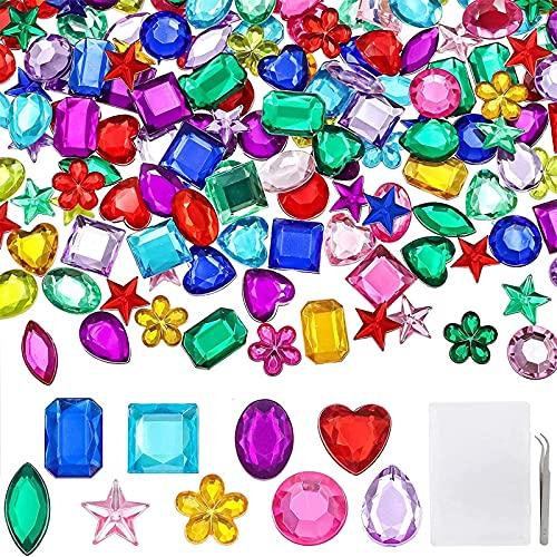 YIQIHAI 360pcs Craft Gems Jewels Acrylic Flatback Rhinestones Gemstone for Arts and Crafts Jewels, 9 Shapes, 10-15mm with Tweezers and Storage Box