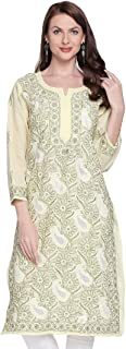 Indiankala4u Ladies Kurti Tops Hand Embroidered Lucknow Chikankari Kurti Top for Women