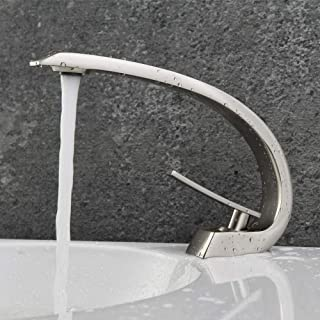 POP Single Handle Bathroom Sink Faucet Brushed Nickel, Modern Single Hole Bathroom Vanity Faucets with Curved Spout