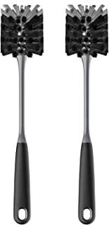 MR.SIGA Long Handle Bottle Brush, Flexible Scrub Brush for Water Bottles, Glasswares, Mugs, Black, 2 Pack