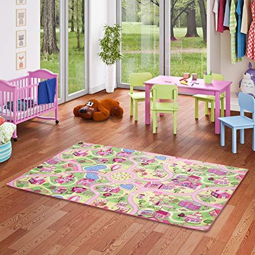 Snapstyle Kinder Spiel Teppich Girls Rosa Village in 24 Größen