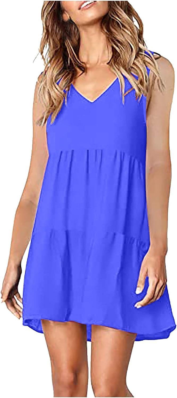 WUAI Women's Summer Tunic Dress V Neck Casual Loose Flowy Swing Shift Mini Dresses