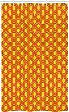 ABAKUHAUS Orange & Gelb Schmaler Duschvorhang, Doodle Sonnen, Badezimmer Deko Set aus Stoff mit Haken, 120 x 180 cm, Orange & Gelb