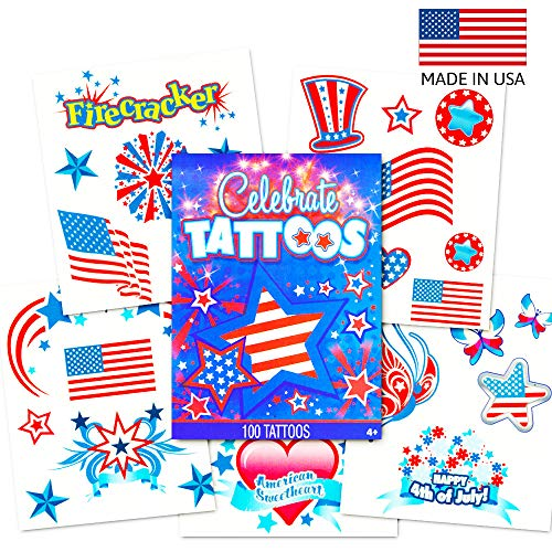 Patriotic American Flag Temporary Tattoos Set (Over 100 USA Tattoos, 4th of July Party Supplies)