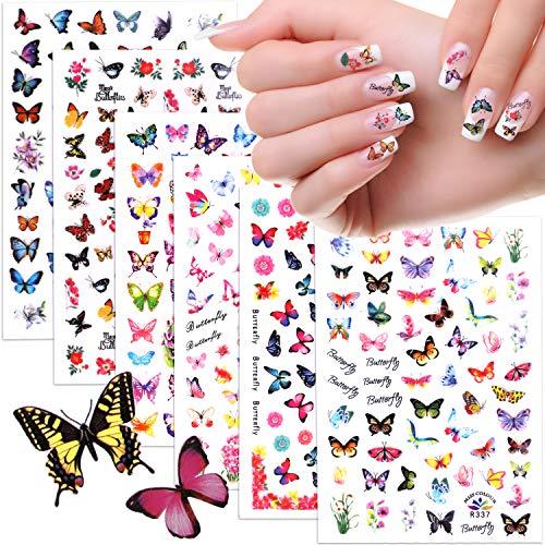 MWOOT 6 Blatt Nagelsticker Blumen, Butterfly Nail Art Stickers, MWOOT 3D Blumen Schmetterling Nail Art Aufkleber Selbstklebende Nagel Tattoo Decals Abziehbilder für Nagel Kunst Dekoration