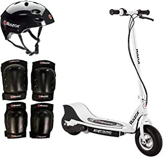Razor E325 Electric 24V White Scooter + Youth Helmet + Elbow Knee Pad Safety Set