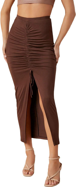 SheIn Women's High Waist Drawstring Ruched Bodycon Split Thigh Maxi Pencil Skirt