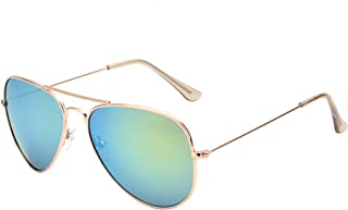 Retro Mirror Aviator Sunglasses Flash Tinted Lens Eyeglasses for Women Men UV400