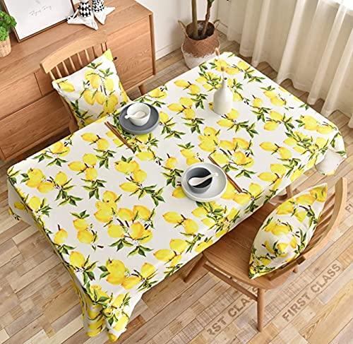 laokudy Toallita de Mantel, refrescante Mantel Rectangular de limón, Mantel de Lino Limpio, tapetes de Escritorio para Exteriores, Fiesta en casa140 * 200cm