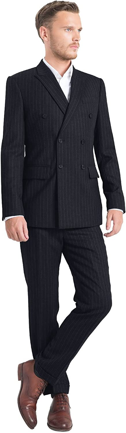 iTailor Men's 6-Button Double Breasted Pinstripe Suit Navy Blue 36 Short