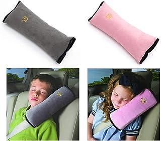 シートベルトカバー シートベルト枕 2個セット キッズ シートベルト 枕 カバー 子供 旅行用品 頚部保護 (グレー、ピンク)