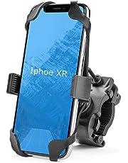 自転車 スマホ ホルダー バイク スマホホルダー オートバイ スマートフォン GPSナビ 携帯 固定用 マウント スタンド に適用iphone7 8 X xperia android 多機種対応 [俯仰角度調節/360度回転] 二重強力保護 振れ止め 脱落防止 脱着簡単 強力な保護 (ブラック)
