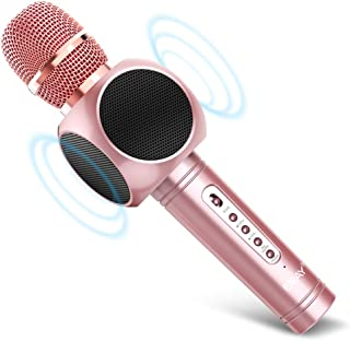 ERAY Micrófono Inalámbrico Karaoke, Micrófono karaoke Bluetooth 4 en 1, 2 Altavoces Incorporados, 3.5mm AUX, Compatible co...