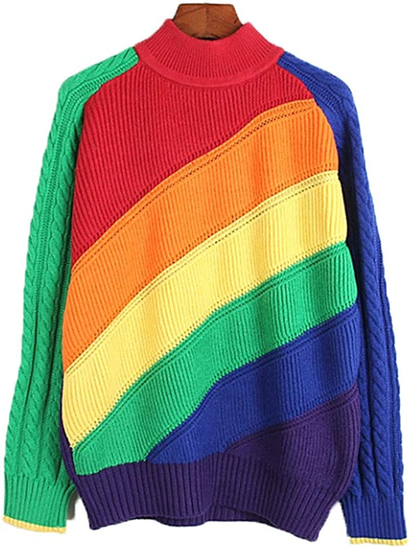 Women Pullover online shop Rainbow Sweater Multicolor Striped Sw Casual Slim 67% OFF of fixed price