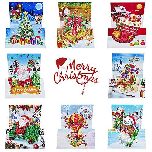 cookin 8 Stück DIY 5D Diamant Malerei Weihnachtskarten, Grußkarte für Weihnachten, Diamantbild Merry Christmas, handgefertigte Karten für Familie, Freunde, Partner