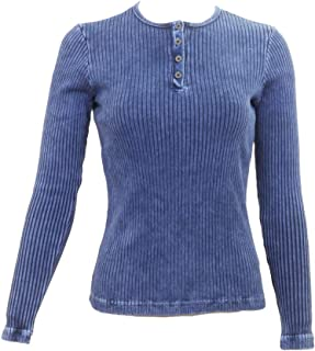 Wide Ribbed Long Sleeve Henley Shirt CMR-07