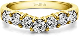Diamonds (G-H,I2-I3) Contour Anniversary Ring In 14k Yellow Gold(1Ct) Size 3 To 15 in 1/4 Size Interval
