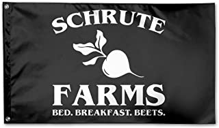 WINDST Personalized Schrute Farms Logo Garden Flag 3x5 ft Outdoor Garden Decorative Banner Black