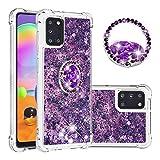 SEEYA Funda Glitter Líquido para Samsung Galaxy A31 Carcasa con Anillo Diamante Silicona Transparente Brillante Cristal Caso Gel Suave Flexible y Ligera Cover Diseño Corazón Púrpura
