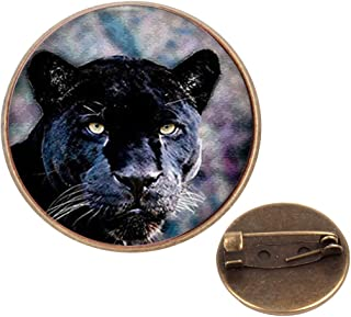 WAZZIT Round Metal Tie Tack Hat Lapel Pin Brooches Lion Art Banquet Badge Enamel Pins Trendy Accessory Jacket T-Shirt