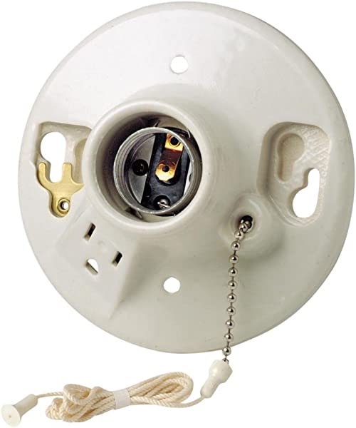 Leviton 9726 C2 One Piece Glazed Porcelain Outlet Box Mount Incandescent Lampholder Pull Chain Top Wired White