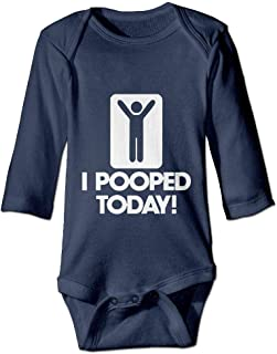 PUREYS-I Printed I Pooped Today Cute Toddler Baby Girls Long Sleeves Bodysuit Outfits Clothes