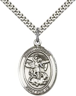 F A Dumont Church Supplies Sterling Silver St. Michael the Archangel Pendant with 24
