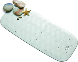 Rayen 2326.11 Rubber Bath Rug with Suction Pads, 14.5 by 35.4-Inch, White