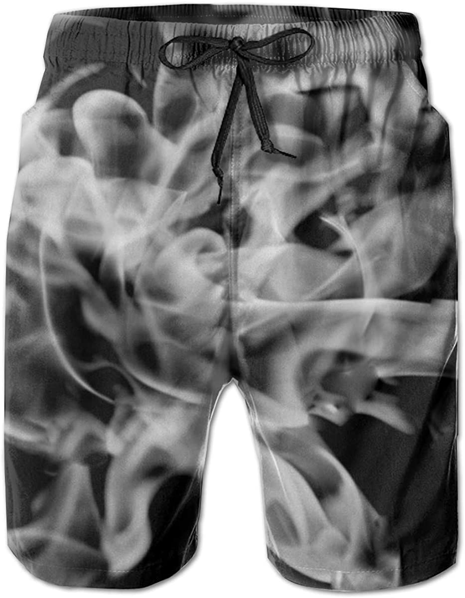 Mens White Smoke Flame Quick Dry Fit Classic Cheap Swim Short Trunks Popular brand in the world