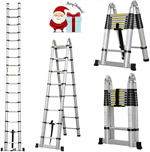 lowest Aluminum Telescopic Ladder 16.5Ft 16-Step A-Frame 330lbs Capacity Heavy Duty Portable Telescopic Extension lowest for Indoor online sale Outdoor Home Garage Business outlet online sale