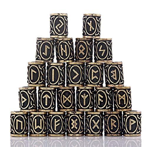 INOOY Perles de Cheveux 24 pièces pour Viking Beard, 304 Perles en Acier Inoxydable pour Coureurs Hommes,Gold