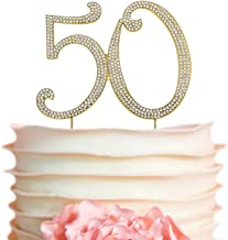 50 GOLD Cake Topper   Premium Sparkly Crystal Rhinestones   50th Birthday or Anniversary Party Decoration Ideas   Perfect Keepsake (50 Gold)