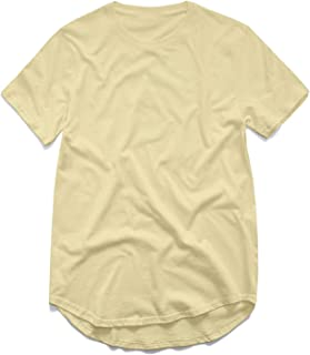 Clustor West Extended Round Sweep T-Shirt Curved Hem Long line Tops Urban Blank