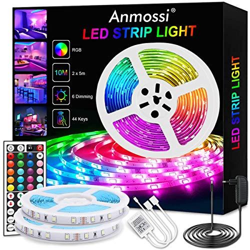 Anmossi Striscia LED 10 metri,Strisce LED RGB con 44 Tasti Telecomando 12V IP20 Impermeabile SMD 5050 Striscia LED Alta Luminosità per Decorazioni,TV,stanza,Cucina,Festa,Natale,Bar ecc
