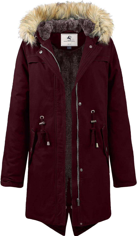 Uoiuxc Women's shopping Hooded Award-winning store Winter Coat Parka Lined Warm Fleeced Long