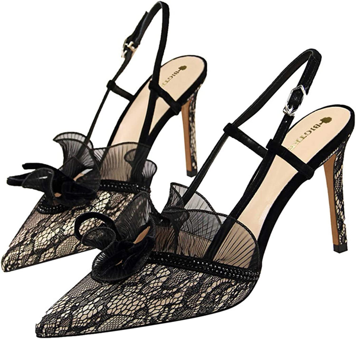 Owen Moll Women Pumps, Sexy Lace Thin High Heels Cut-Out Slingback Party Wedding shoes