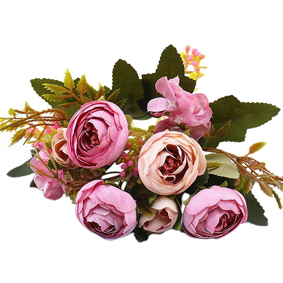 telaite 1 Bouquet Vintage Artificial Peony Silk Flowers Bouquet for Decoration(Purple)