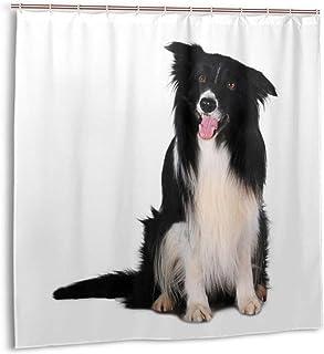Wdoci Cortina de baño,Impermeable,Retrato de Perro de Raza Border Collie Animal Blanco Animal Negro canino Recortado Animal,Cortina de Ducha de con Ganchos 150cmx180cm