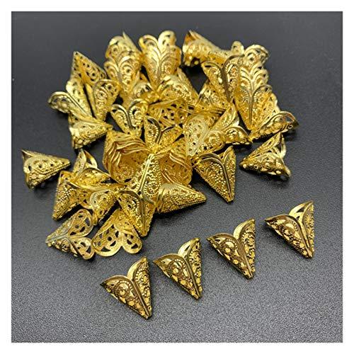 PNLD 50 piezas de joyería de 15 x 15 mm, cuentas de aleación, abalorios antiguos, colgantes en forma de flor, para hacer joyas, collares y pendientes (color: dorado).