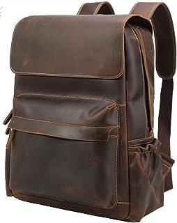 Vintage Genuine Leather 15.6 Inch Laptop Backpack for Men Casual Travel Work Bag Bookbag Daypack with YKK Zipper Brown
