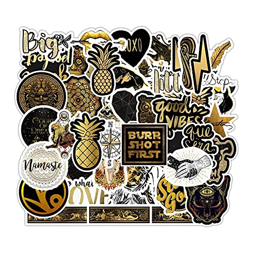 50 PCS Black Gold Laser Stickers,Laser Holography Black and Gold Stickers,Colorful Vinyl Waterproof Stickers for Laptop,Water Bottles,Luggage,Computer,Cellphone,Skateboard,Guitar,Flag