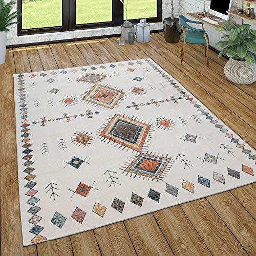 Paco Home Teppich Für Wohnzimmer, Ethno-Muster, 3-D-Effekt, In versch. Farben und Größen, Grösse:160x230 cm, Farbe:Creme