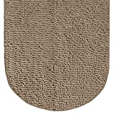 Gorilla Grip Original Luxury Chenille Bath Rug Mat, 24x42, Extra Soft and Absorbent Large Oval Shaggy Bathroom Rugs, Machine Wash Dry, Plush Carpet Mats for Tub, Shower, and Bath Room, Beige